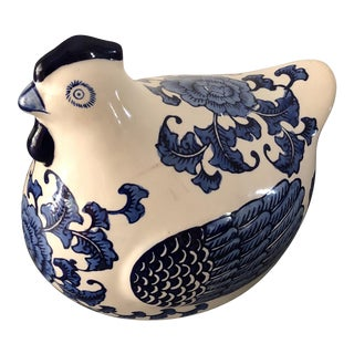 Blue and White Chinoiserie Chicken Figure