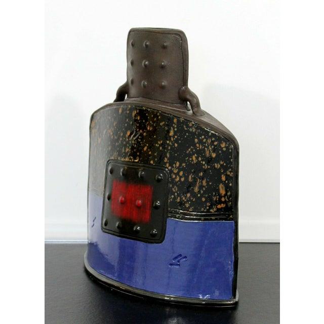 Mid Century Modern Studio Ceramic Red Square Vessel Vase Table Sculpture For Sale In Detroit - Image 6 of 9