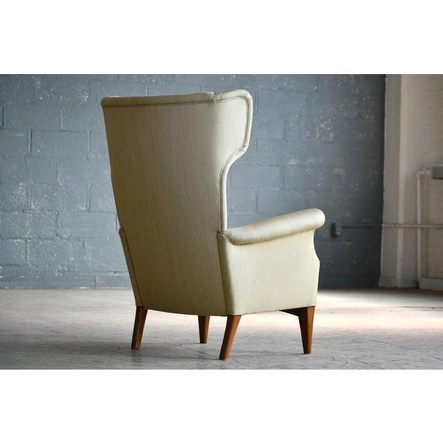 Wood Fritz Hansen 1950s Wingback Chair Model 8023 in Teak Danish Mid-Century For Sale - Image 7 of 12