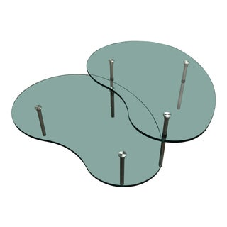 Enzo Mari for Zanotta Ambo Glass Nesting Coffee Tables - a Pair