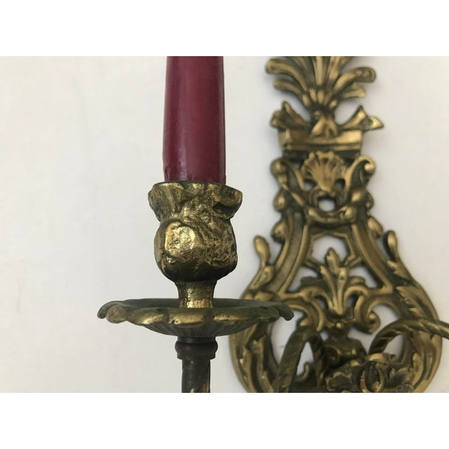 Gold 1950s Vintage Louis IV Versace Style Brass Candle Holders Sconces - a Pair For Sale - Image 8 of 11