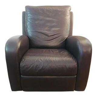Natuzzi Italian Aubergine Leather Recliner Rocker Swivel Chair For Sale