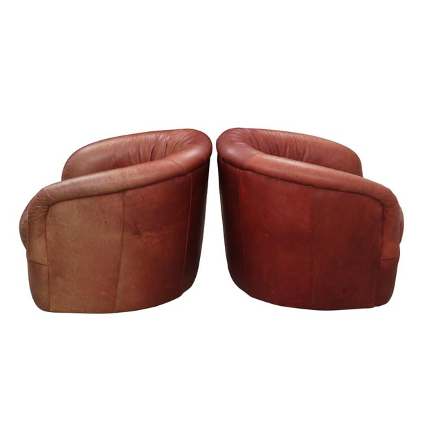 Boho Chic Leather Swivel Club Chairs - a Pair For Sale - Image 3 of 7