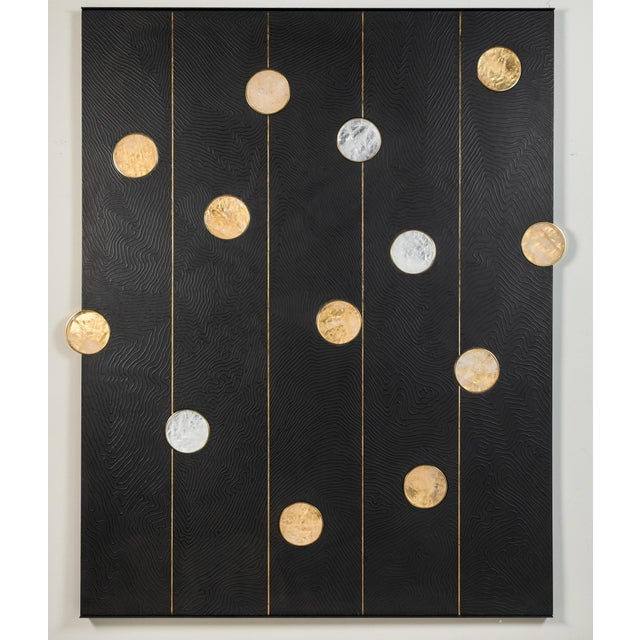 Gold Art Wall Panel with Texture and Rock Crystal by Paul Marra For Sale - Image 8 of 11