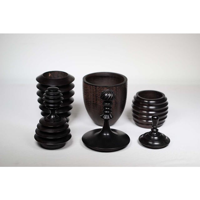 African Turned Wooden Vessels - Set of 3 - Image 3 of 3