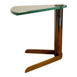 Post Modern Leon Rosen for Pace Polished Steel and Glass Wedge Accent Table. For Sale