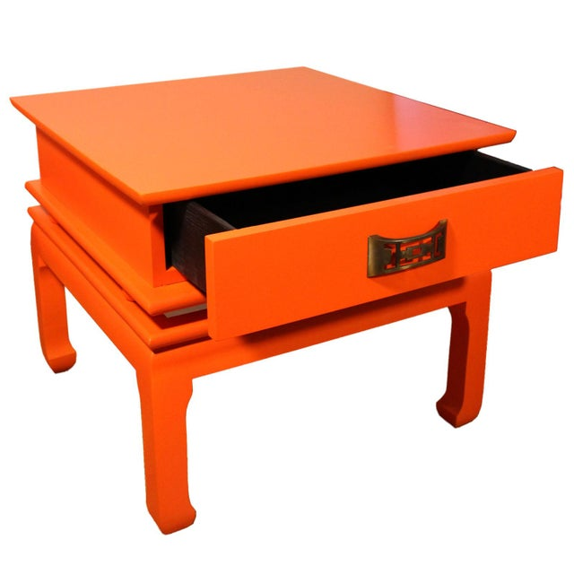 Mid-Century Modern Vintage Mid-Century James Mont Style Orange Solid Wood & Brass Chinoiserie End Tables - a Pair For Sale - Image 3 of 6