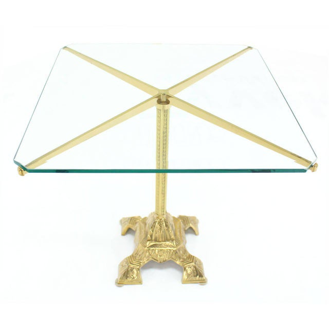 Cast Brass Base and Glass-Top Side Table For Sale - Image 4 of 8