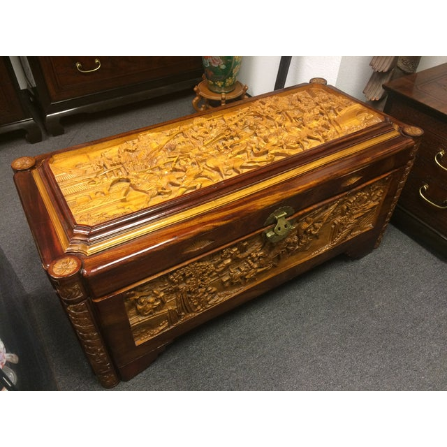 Ornate Hand-Carved Asian Chest For Sale In Las Vegas - Image 6 of 11