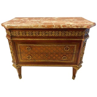 Spectacular Louis XVI Style Bronze-Mounted Marble Top Parquetry Commode / Chest For Sale