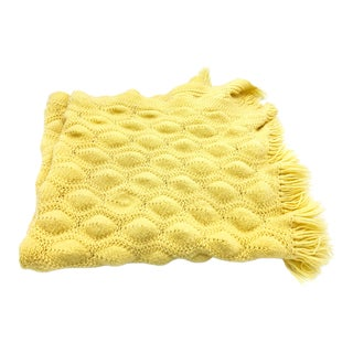 Vintage Yellow Hand Knitted Throw With Bubble Stitch Textures and Fringe For Sale
