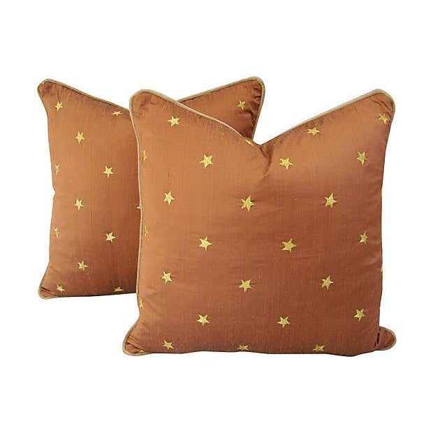 Silk Pillows W/ Embroidered Gold Stars - A Pair - Image 5 of 6