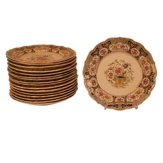 19th Century Vintage English Ironstone Plates- Set of 17 For Sale