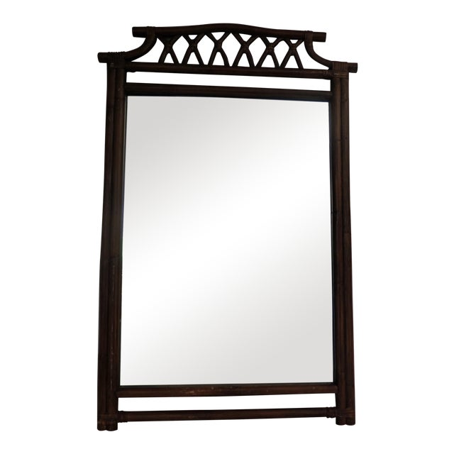 1970s Vintage Large Faux Bamboo Mirror For Sale