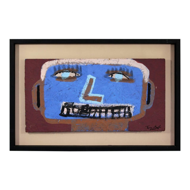Contemporary Framed Painting on Wood Portrait Signed Tyree Guyton Dated 2000s For Sale