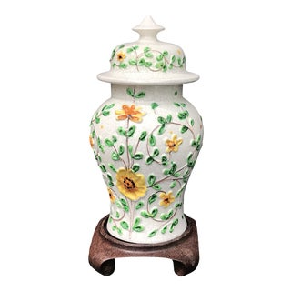 Vintage Hand Painted Ginger Jar With Rosewood Stand For Sale