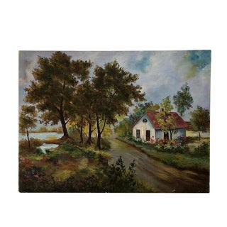 "Vintage Oil on Canvas, Country Lane - 30"" X 40"" For Sale"