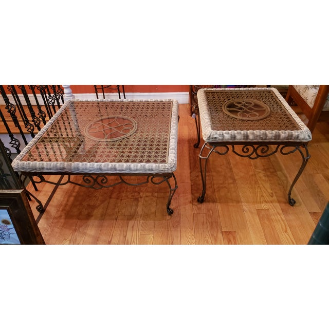 Shabby Chic Wrought Iron Table Set With Wicker Inlays and Smoked Glass Tops - a Pair For Sale - Image 13 of 13
