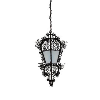 Antique French Iron Hanging Lantern Light For Sale