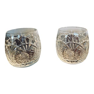 Waterford Crystal Seahorse Pattern Old Fashion Glasses - a Pair For Sale