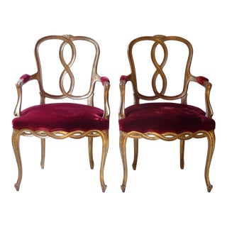 Early 20th Century Vintage French Ribbon Back Giltwood Armchairs- A Pair For Sale