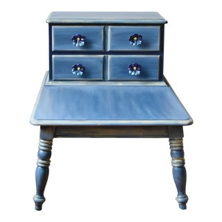20th Century Shabby Chic Step Table Painted Blue With Ceramic Flower Knobs