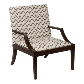 The Lounge Lizard Chair in Zig Zag Taupe Violet For Sale