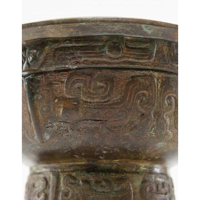 Lawrence and Scott, Inc Lawrence & Scott Patinated Vessel on Stand For Sale - Image 4 of 9