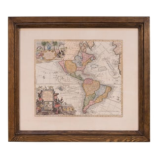 World Map in Pine Frame For Sale