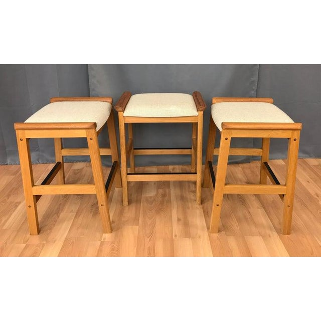 Set of 3 j.l. Møller Counter Stools for Højbjerg of Denmark For Sale In San Francisco - Image 6 of 13