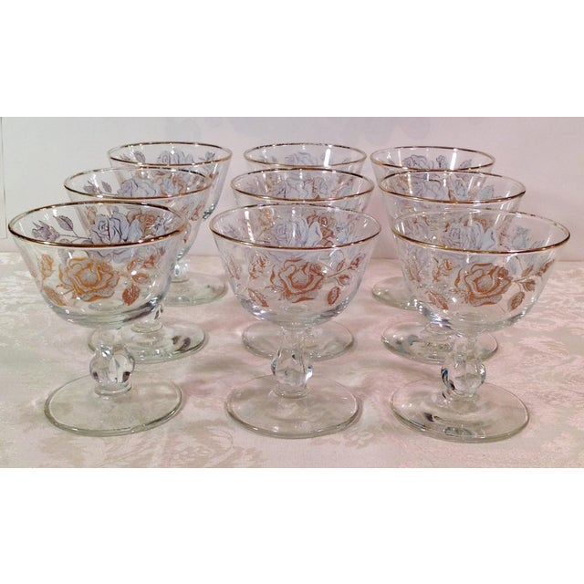 Mid-Century White Rose & Gold Glasses - Set of 14 - Image 3 of 7