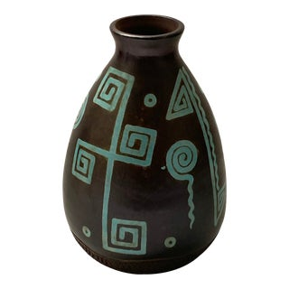 Vintage Ittery Pottery Vase in Turquoise Native American Motif on Brown For Sale