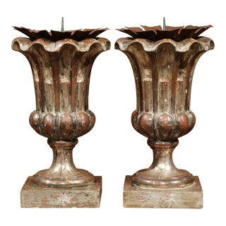 Italian Hand-Carved Silver Leaf Pricket Candlesticks with Metal Bobeches - a Pair