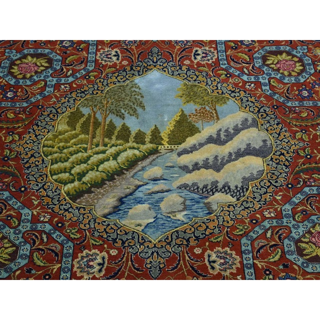 Antique Persian Tabriz Pictorial Rug- 4′7″ × 5′4″ For Sale - Image 9 of 13