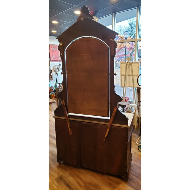 Wood 19th Century Antique Eastlake Style Dresser With Mirror and Hidden Drawer For Sale - Image 7 of 12