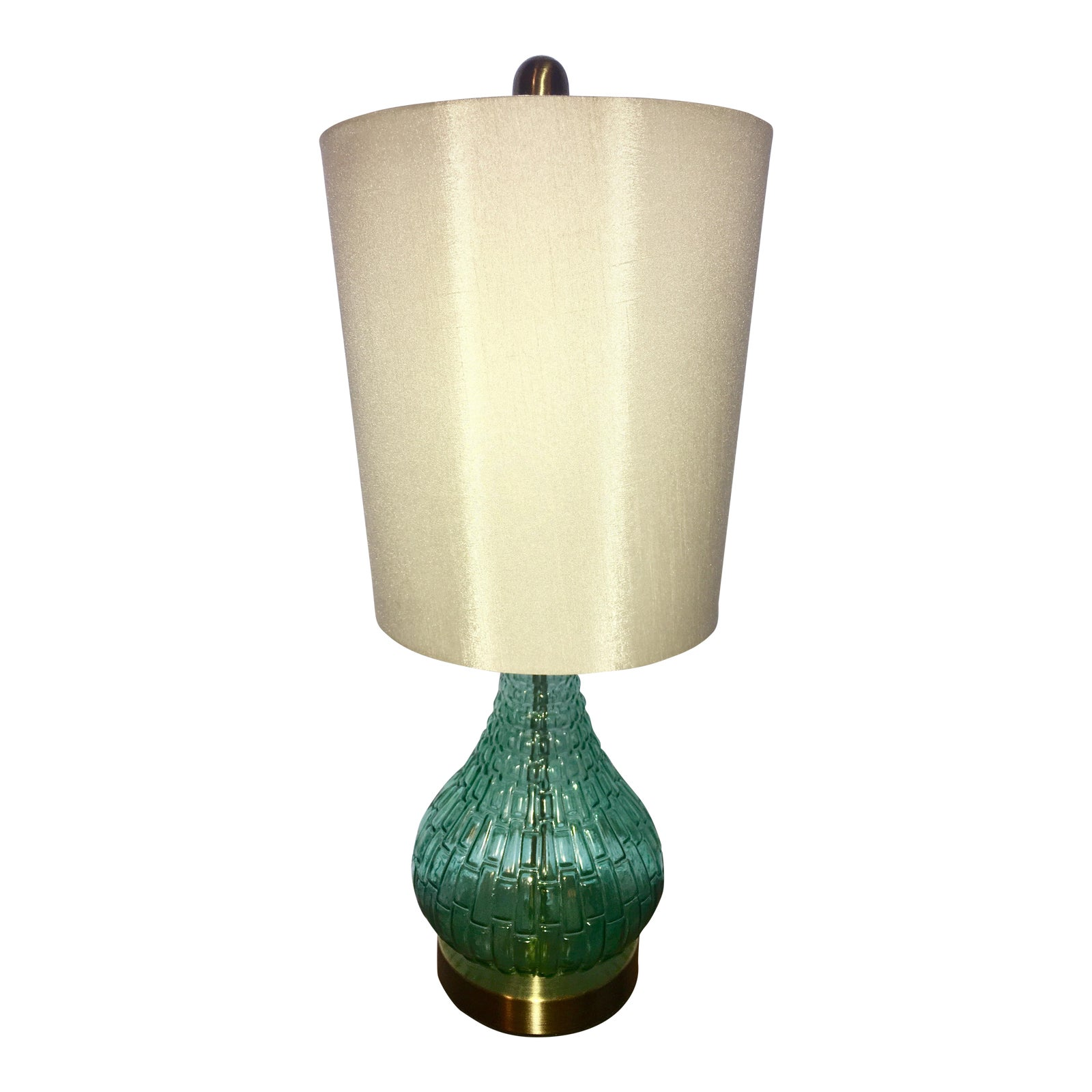 1990S Americana Turquoise Glass Lamp With White Linen Lampshade -