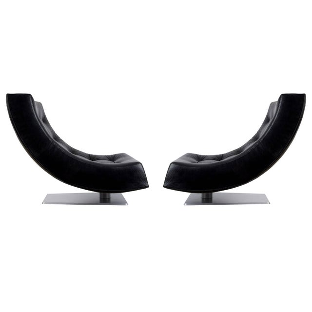 Large Modern Tufted Black Leather Swivel Scoop Lounge Chairs, Pair, Circa 1980 For Sale - Image 11 of 11