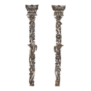 Pair of 18th Century Italian Silvergilt and Carved Wall Appliques For Sale