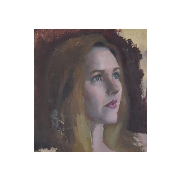 Vintage Female w/ Auburn Hair Portrait Oil Painting Study - Image 3 of 6