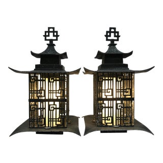 Asian Pagoda Outdoor Metal Chinese Lattice Patterns Wall Sconces- a Pair For Sale