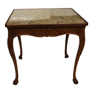 Antique French Center Table With Tapestry Top For Sale