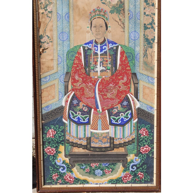 Asian Late Ching Chinese Court Lady Painting For Sale - Image 3 of 8