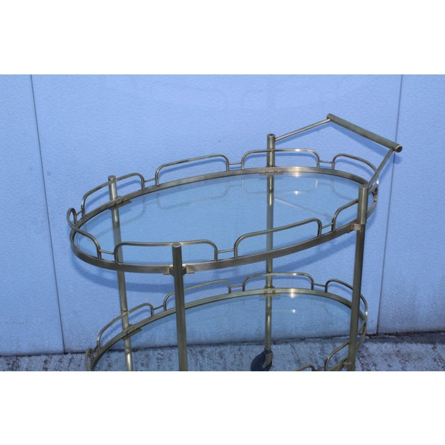 Mid-Century Modern Signed Maxwell-Phillips Patinated Brass Bar Cart For Sale - Image 3 of 13