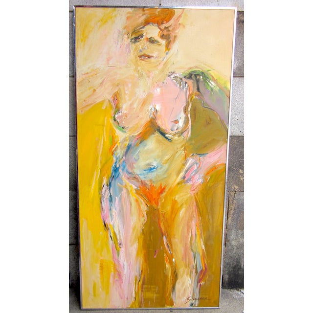 """Large Format 1970s Vintage Suzanne Peters """"Sunbather"""" Expressionist Nude Female Portrait Oil on Canvas Painting For Sale - Image 13 of 13"""
