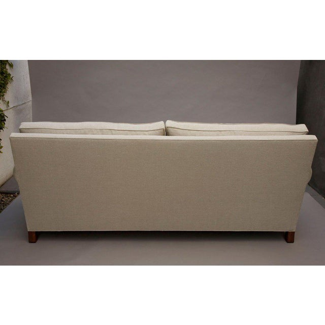 "White ""Elton"" by Lee Stanton Upholstered Sofa in Belgium Linen or Custom Fabric For Sale - Image 8 of 11"