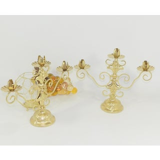 1980s Hollywood Regency Gold Candlestick Holders - a Pair Preview
