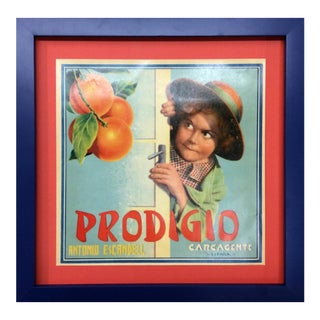 1920's Original Vintage Spanish Fruit Crate Label - Prodigio (Rascal Behind Door) For Sale