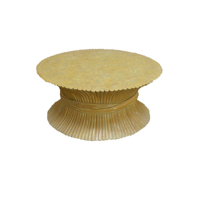 McGuire Style Mid Century Modern Round Wheat Sheaf Rattan Coffee Table - Image 13 of 13