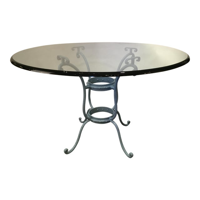 French Blue Iron Base Table With Rounded Beveled Edge Glass Top For Sale