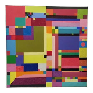 Erik Koch (Denmark, B.1933) Large Mid-Century Modern Abstract Oil Painting C.1967 For Sale